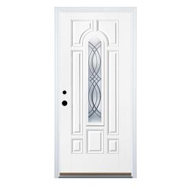 Therma-Tru Benchmark Doors TerraCourt 8-Panel Insulating Core Center Arch Lite Right-Hand Inswing White Fiberglass Primed Prehung Entry Door (Common: 32-in x 80-in; Actual: 33.5-in x 81.5-in)