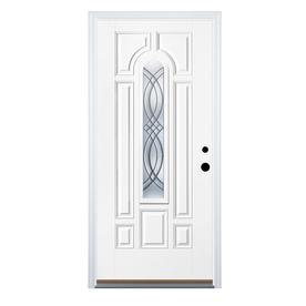 Therma-Tru Benchmark Doors TerraCourt 8-Panel Insulating Core Center Arch Lite Left-Hand Inswing White Fiberglass Primed Prehung Entry Door (Common: 32-in x 80-in; Actual: 33.5-in x 81.5-in)