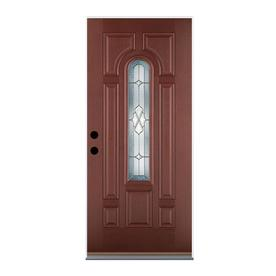 Benchmark by Therma-Tru 36-in Center Arch Lite Decorative Mahogany Inswing Entry Door
