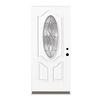 Therma-Tru Benchmark Doors Varissa 2-Panel Insulating Core Oval Lite Left-Hand Inswing White Fiberglass Primed Prehung Entry Door (Common: 36-in x 80-in; Actual: 37.5-in x 81.5-in)