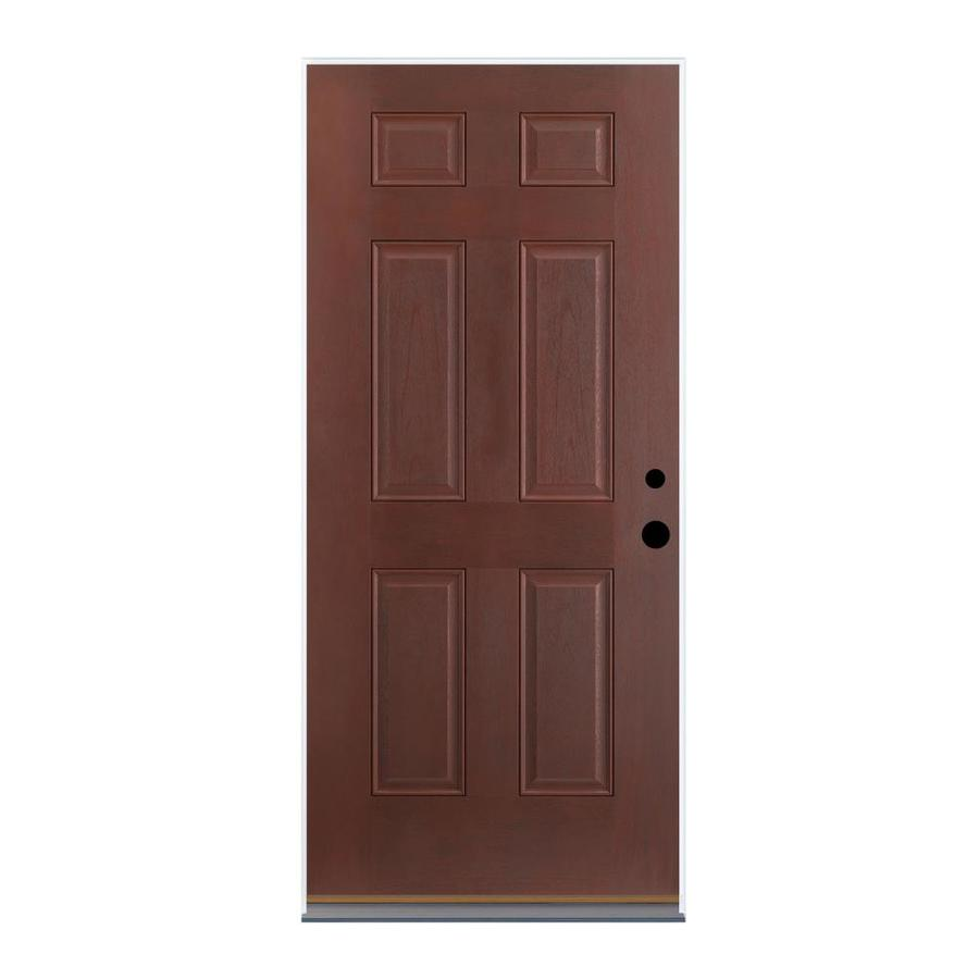 Shop therma tru benchmark doors 6 panel mahogany prehung for Lowes entry doors