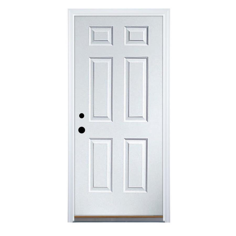 Shop fire resistant 6 panel prehung inswing steel entry for Steel entry doors