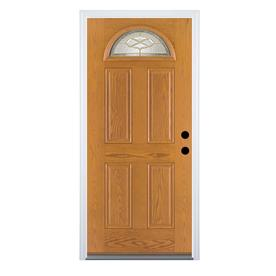 Therma-Tru Benchmark Doors Willowbrook 4-Panel Insulating Core Fan Lite Left-Hand Inswing Medium Oak Fiberglass Stained Prehung Entry Door (Common: 36-in x 80-in; Actual: 37.5-in x 81.5-in)
