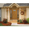 Therma-Tru Benchmark Doors Willowbrook 4-Panel Insulating Core Fan Lite Left-Hand Outswing Medium Oak Fiberglass Stained Prehung Entry Door (Common: 36-in x 80-in; Actual: 37.5-in x 80.5-in)