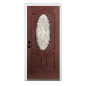 Benchmark by Therma-Tru 32-in Oval Lite Decorative Mahogany Outswing Entry Door