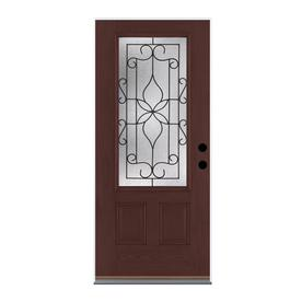 Benchmark by Therma-Tru 36-in Three Quarter Lite Decorative Mahogany Inswing Entry Door