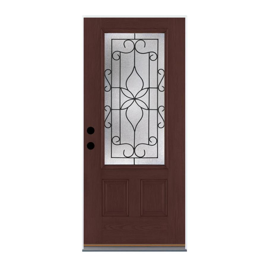 Shop Therma Tru Benchmark Doors 3 4 Lite Decorative Mahogany Prehung Inswing Fiberglass Entry