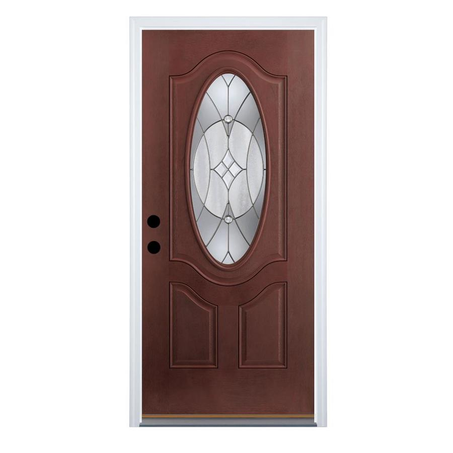 Shop Therma Tru Benchmark Doors Oval Lite Decorative Mahogany Prehung Outswing Fiberglass Entry