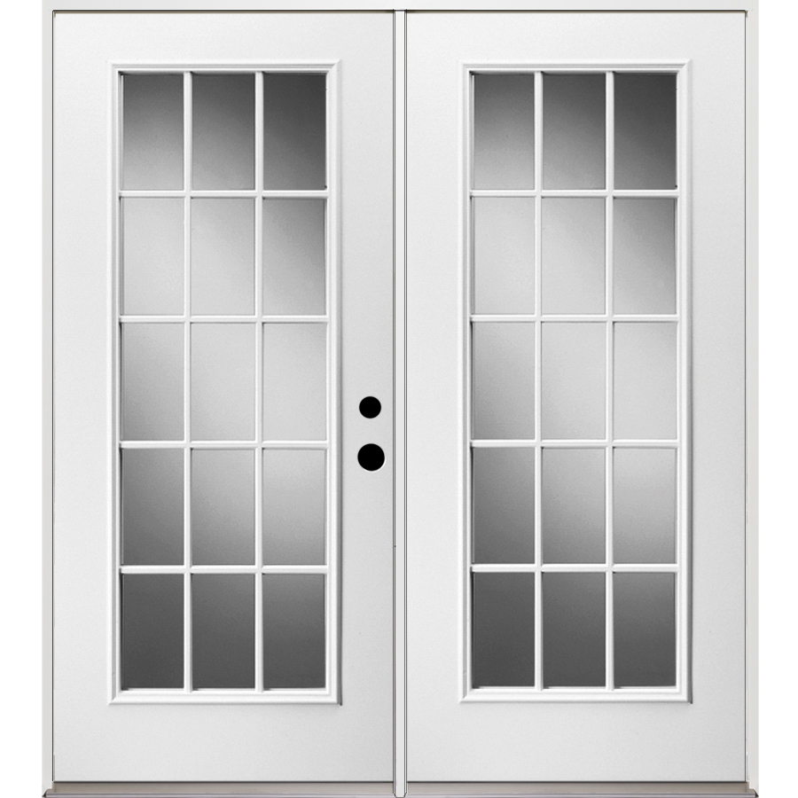 Shop reliabilt 15 lite glass steel french for Glass french doors exterior