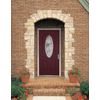 Therma-Tru Benchmark Doors Varissa 2-Panel Insulating Core Oval Lite Right-Hand Inswing Cranberry Fiberglass Stained Prehung Entry Door (Common: 36-in x 80-in; Actual: 37.5-in x 81.5-in)