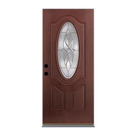 Therma-Tru Benchmark Doors Varissa 2-Panel Insulating Core Oval Lite Right-Hand Inswing Dark Mahogany Fiberglass Stained Prehung Entry Door (Common: 36-in x 80-in; Actual: 37.5-in x 81.5-in)
