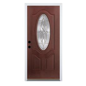 Benchmark by Therma-Tru 36-in Oval Lite Decorative Dark Mahogany Inswing Entry Door