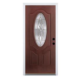 Therma-Tru Benchmark Doors Varissa 2-Panel Insulating Core Oval Lite Left-Hand Inswing Dark Mahogany Fiberglass Stained Prehung Entry Door (Common: 32-in x 80-in; Actual: 33.5-in x 81.5-in)