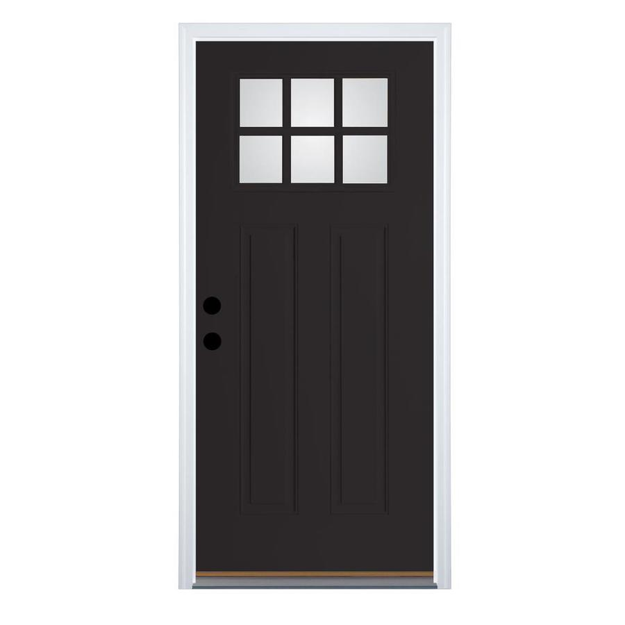 Shop therma tru benchmark doors craftsman 6 lite clear black prehung outswing fiberglass entry for Lowes fiberglass exterior doors