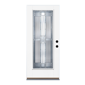 Therma-Tru Benchmark Doors Dunthorpe Flush Insulating Core Full Lite Left-Hand Inswing White Fiberglass Primed Prehung Entry Door (Common: 36-in x 80-in; Actual: 37.5-in x 81.5-in)