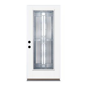 Therma-Tru Benchmark Doors Dunthorpe Flush Insulating Core Full Lite Right-Hand Inswing White Fiberglass Primed Prehung Entry Door (Common: 36-in x 80-in; Actual: 37.5-in x 81.5-in)