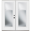 Benchmark by Therma-Tru 70-1/2-in Dual-Pane Blinds Between The Glass Fiberglass French Inswing Patio Door