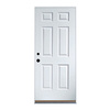 6-Panel Insulating Core Left-Hand Outswing White Steel Unfinished Prehung Entry Door (Common: 32-in x 80-in; Actual: 33.5-in x 80.5-in)