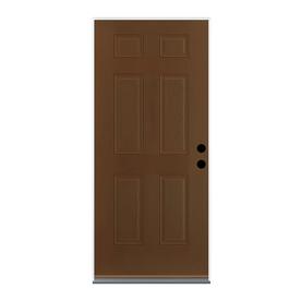 Doors 6 panel insulating core left hand inswing walnut fiberglass
