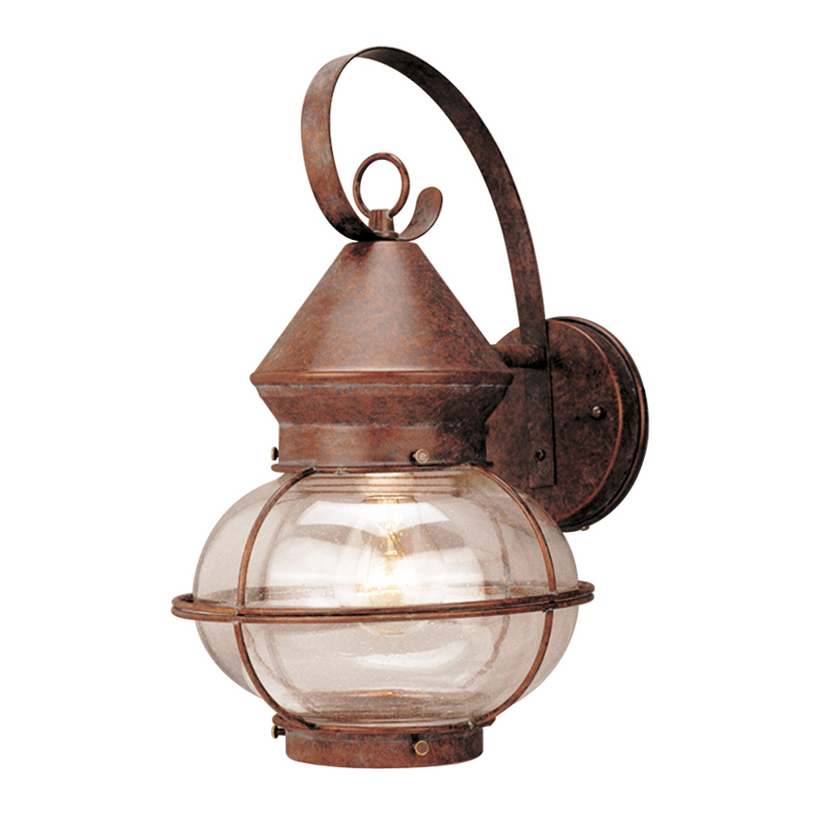 Shop Portfolio 14-3/4-in Rustic Bronze Outdoor Wall Light at Lowes.com