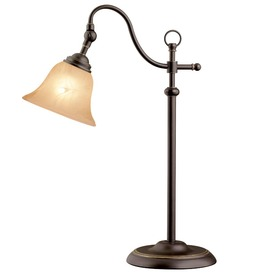 Portfolio 23-in Antique Bronze Table Lamp with Amber Shade