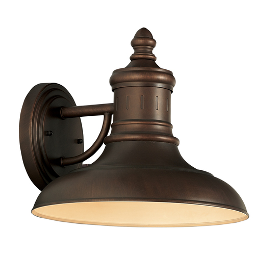 Zoomed: Portfolio Bronze Outdoor Wall Light with Metal Shade