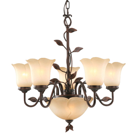 allen + roth Eastview 25.5-in 7-Light Dark Oil-Rubbed Bronze Tinted Glass Standard Chandelier