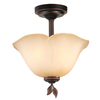 allen + roth Eastview 12.87-in W Dark Oil-Rubbed Bronze Tea-Stained Glass Semi-Flush Mount Light
