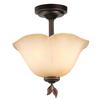 allen + roth Eastview 12.87-in W Dark Oil-Rubbed Bronze Tea-Stained Glass Semi-Flush Mount Light