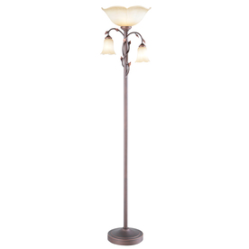 allen + roth 72-3/8-in 3-Way 3-Light Oil-Rubbed Bronze Torchiere Floor Lamp with Amber Shade