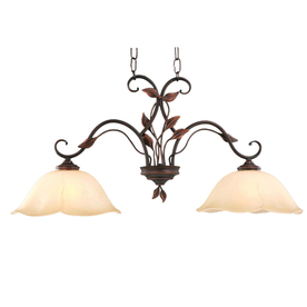 allen + roth Eastview 12.87-in W 2-Light Dark Oil-Rubbed Bronze Kitchen Island Light with Tinted Shade