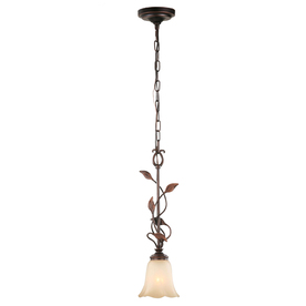 allen + roth Eastview 6.12-in W Dark Oil-Rubbed Bronze Mini Pendant Light with Tinted Glass Shade
