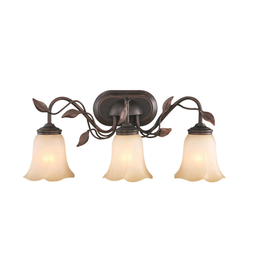 Shop allen roth 3 light eastview dark oil rubbed bronze for Bathroom light fixtures lowes