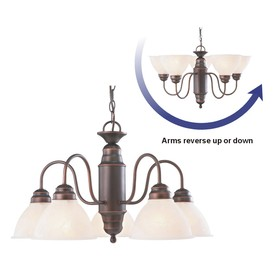 Portfolio 23.37-in 5-Light Bronze Standard Chandelier
