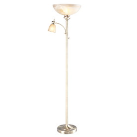 allen + roth 70-3/4-in Aged Brass Touch Torchiere Indoor Floor Lamp with Glass Shade