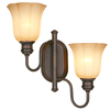 allen + roth 16-3/4-in W 2-Light Dark Oil-Rubbed Bronze Arm Wall Sconce