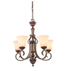 Portfolio Colton Lakes 25.25-in 5-Light Bronze Tinted Glass Standard Chandelier