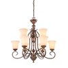 Portfolio Colton Lakes 31.25-in 9-Light Bronze Tinted Glass Standard Chandelier