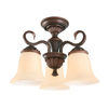 Portfolio 15-in Bronze Tea-Stained Glass Semi-Flush Mount Light
