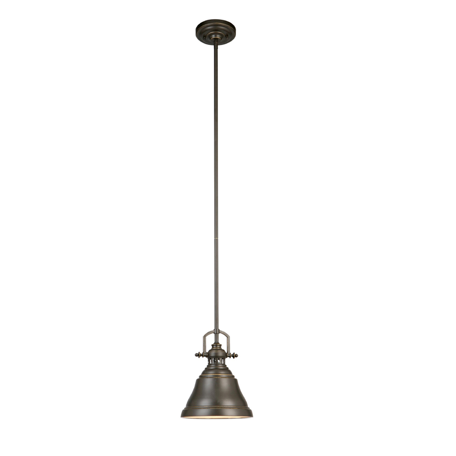 Mini hanging pendant light rustic bronze metal shade for Metal hanging lights