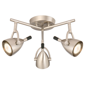 Style Selections 3-Light 15-in Brushed Nickel Flush Mount Fixed Track Light Kit