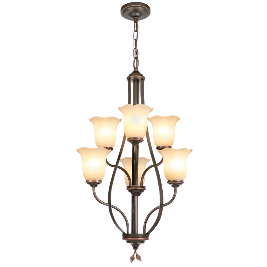 Shop Allen Roth Eastview 6 Light Dark Oil Rubbed Bronze