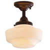 allen + roth 8.62-in W Dark Oil-Rubbed Bronze Opalescent Glass Semi-Flush Mount Light