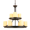 allen + roth Harpwell 25-in 9-Light Bronze Tinted Glass Standard Chandelier