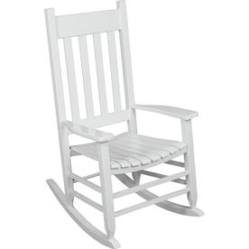 Garden Treasures White Wood Slat Seat Outdoor Rocking Chair