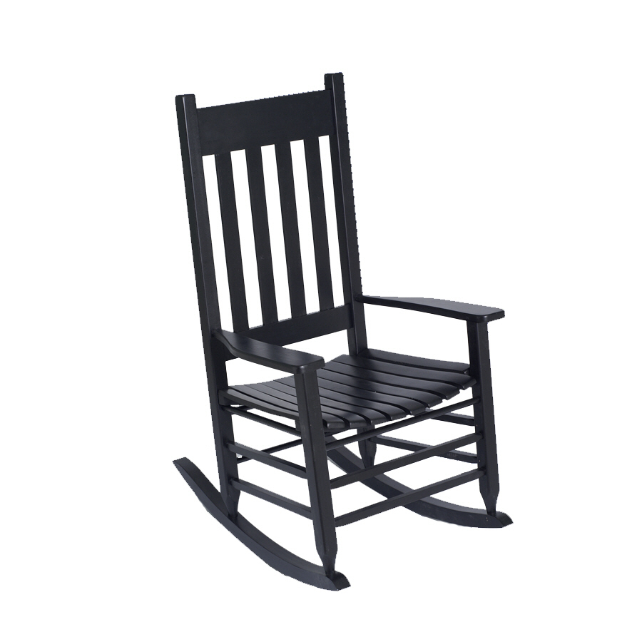 Shop garden treasures black wood slat seat outdoor rocking for Black porch furniture