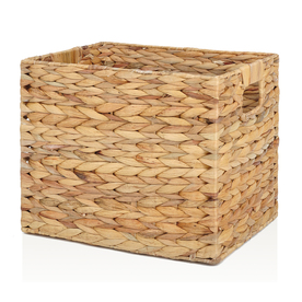 allen + roth 10.7-in W x 11-in H x 14.25-in D Natural Water Hyacinth Milk Crate