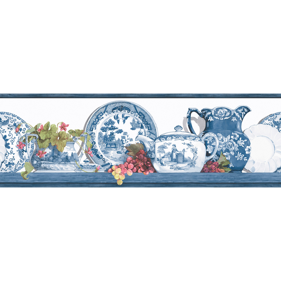 """Shop allen + roth 6-7/8"""" Blue Willow Prepasted Wallpaper ..."""