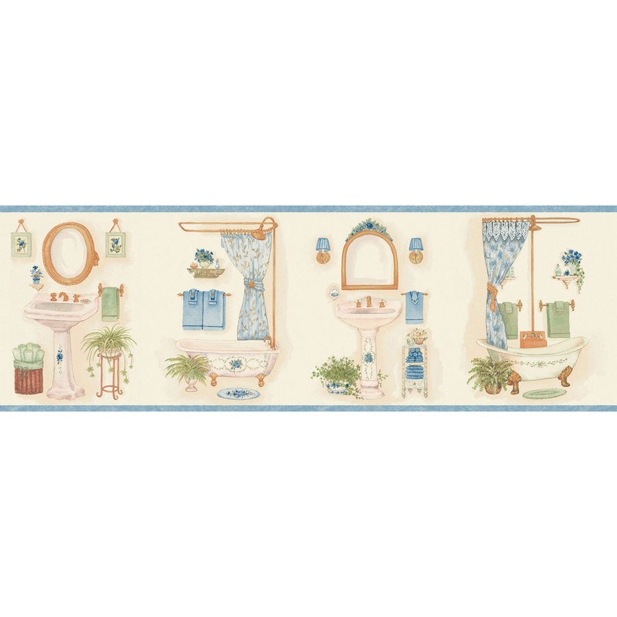 shop allen roth 6 7 8 blue vintage bathroom prepasted