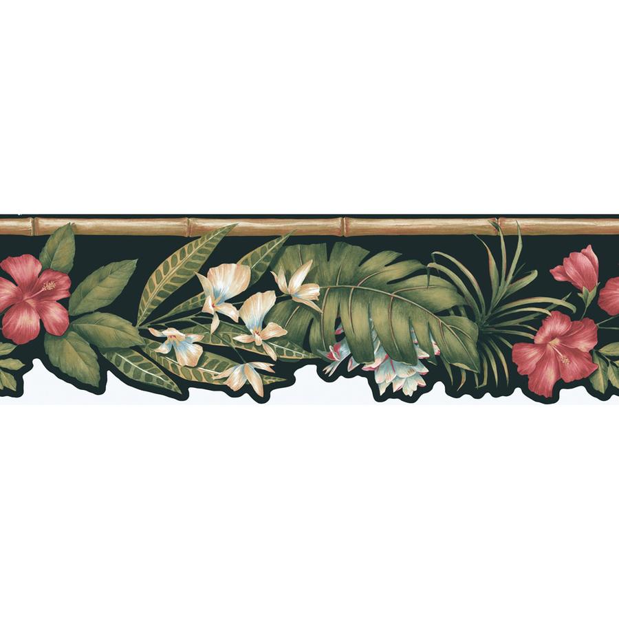 Shop Allen Roth 6 7 8 Black Tropical Flower Prepasted